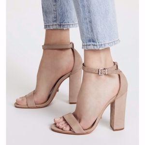 Schutz Enida Nude Tan Block Heel Sandal Shoes